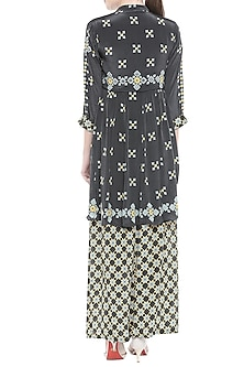Black Embellished Printed Top With Palazzo Pants by Soup by Sougat Paul