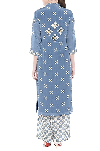 Blue Embellished Printed Top With Palazzo Pants by Soup by Sougat Paul