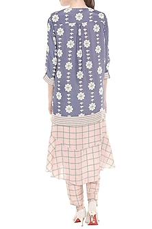 Pink & Blue Printed Kurta With Pants & Asymmetric Jacket by Soup by Sougat Paul