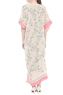Blue & Pink Printed Draped Dress With Asymmetric Jacket by Soup by Sougat Paul