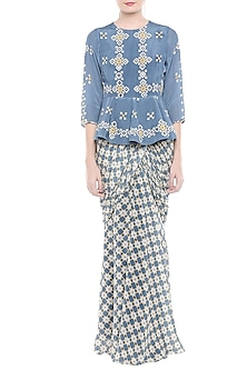 Blue Embellished Printed Saree Gown by Soup by Sougat Paul
