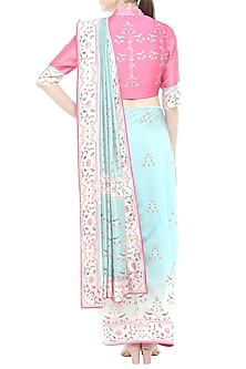 Blue & Pink Printed Saree Set by Soup by Sougat Paul