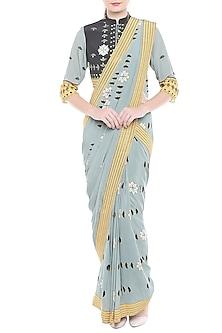 Greyish Blue Printed Drape Saree Set by Soup by Sougat Paul
