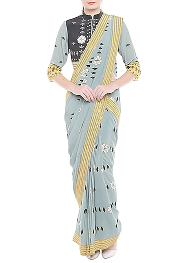 Greyish Blue Printed Drape Saree Set by Soup by Sougat Paul