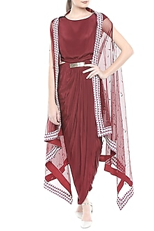 Oxblood Red Draped Dress With Belt & Hand Embroidered Cape Jacket by Soup by Sougat Paul