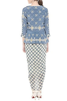 Beige & Blue Draped Dress With Embroidered Printed Peplum Jacket by Soup by Sougat Paul