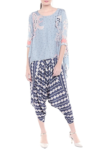 Blue & Off White Printed Dhoti Style Jumpsuit by Soup by Sougat Paul