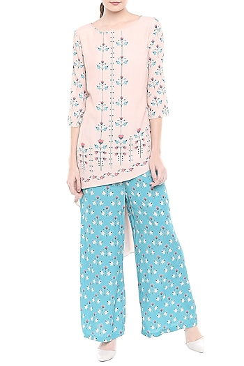 Pink Printed Kurta With Blue Palazzo Pants by Soup by Sougat Paul