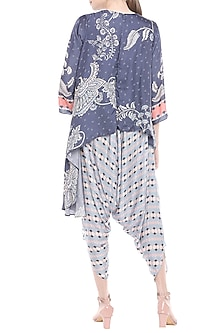 Off White & Blue Printed Dhoti Style Jumpsuit by Soup by Sougat Paul