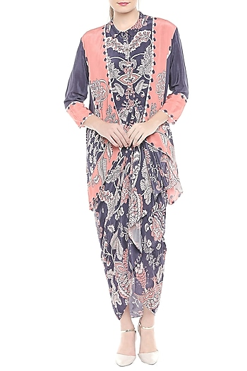 Blue & Peach Draped Dress With Printed Asymmetrical Jacket by Soup by Sougat Paul