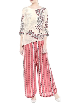 Beige Printed Top With Red Palazzo Pants by Soup by Sougat Paul