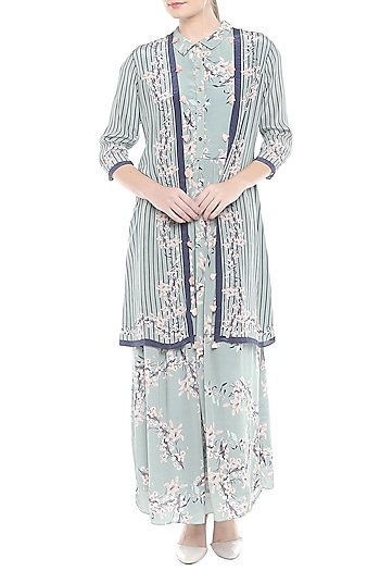 Blue Floral Printed Maxi Dress With Jacket by Soup by Sougat Paul