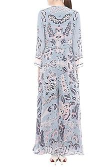 Blue Wrap Dress With Tassels by Soup by Sougat Paul