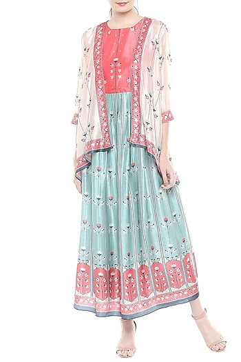 Pink & Blue Printed Maxi Dress With Asymmetrical Jacket by Soup by Sougat Paul