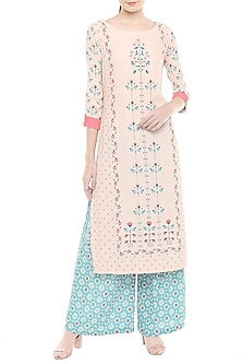 Pink & Blue Printed Kurta With Palazzo Pants by Soup by Sougat Paul