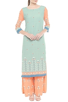 Orange & Blue Printed Kurta With Palazzo Pants by Soup by Sougat Paul