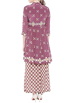 Maroon Embellished Printed Kurta With Palazzo Pants by Soup by Sougat Paul