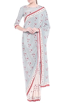 Blue & Pink Embroidered Printed Saree Set by Soup by Sougat Paul