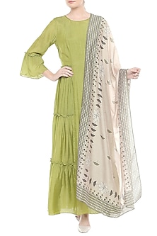 Green Kurta With Off White Printed Dupatta by Soup by Sougat Paul