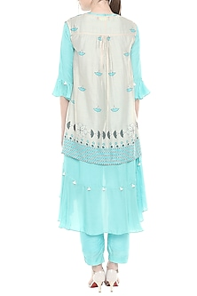 Blue & Off White Kurta With Pants & Printed Jacket by Soup by Sougat Paul