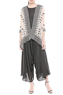 Black & Off White Jumpsuit With Printed Jacket by Soup by Sougat Paul