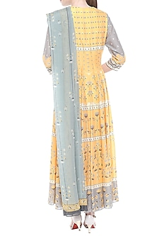 Yellow & Grey Printed Anarkali With Dupatta by Soup by Sougat Paul