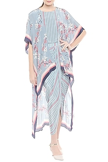 Pink & Blue Printed Draped Dress With Cape Jacket by Soup by Sougat Paul
