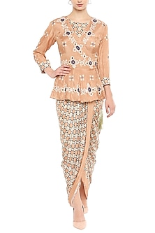 Peach Draped Dress With Embellished Jacket by Soup by Sougat Paul