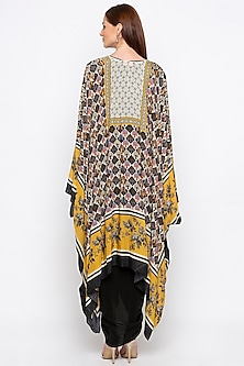 Yellow Embroidered Printed Cape Jacket With Black Dress by Soup by Sougat Paul