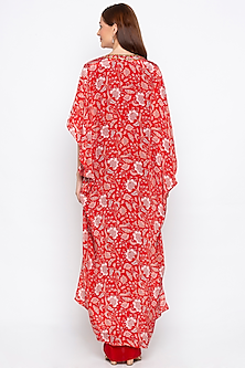 Red Draped Dress With Embroidered Printed Cape Jacket by Soup by Sougat Paul