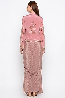 Pink Embroidered Printed Jacket With Draped Skirt by Soup by Sougat Paul