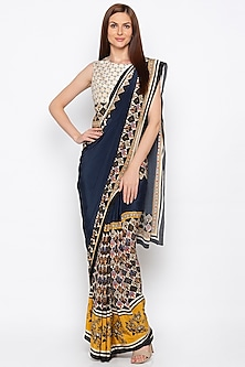 Multi Colored Embroidered Printed Pre-Stitched Saree Set by Soup by Sougat Paul