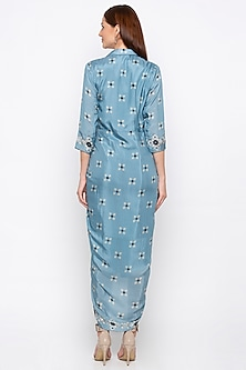 Powder Blue Embroidered & Printed Wrap Dress by Soup by Sougat Paul