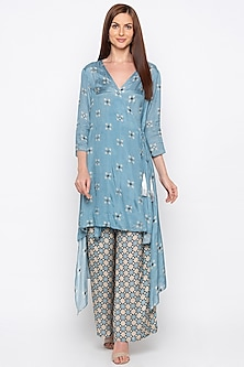 Powder Blue Embroidered Kurta With Printed Palazzo Pants by Soup by Sougat Paul