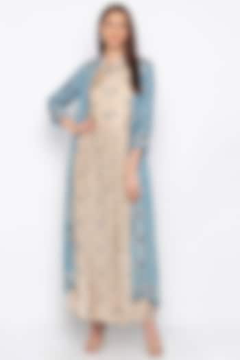 Powder Blue Embroidered Beige Jacket With Pleated Dress by Soup by Sougat Paul