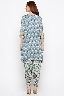 Blue & Off White Embroidered Printed Kurta With Dhoti Pants by Soup by Sougat Paul