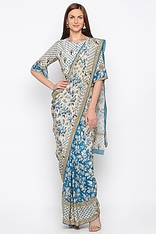 Blue & Off White Embroidered Pre-Stitched Saree Set by Soup by Sougat Paul