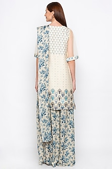 Blue & Off White Embroidered Printed Kurta Set by Soup by Sougat Paul