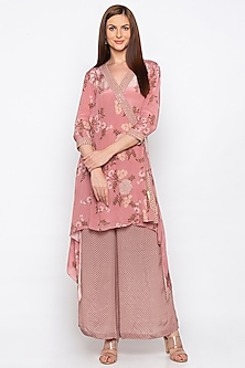 Pink Embroidered High-Low Kurta With Printed Palazzo Pants by Soup by Sougat Paul