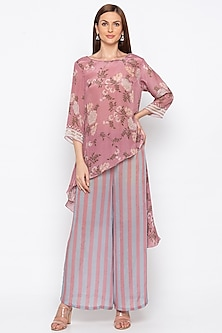 Pink Printed Kurta With Striped Palazzo Pants by Soup by Sougat Paul