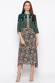 Green Printed Dress With Embroidered Jacket by Soup by Sougat Paul