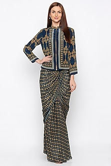 Blue Printed & Embroidered Jacket With Draped Skirt by Soup by Sougat Paul