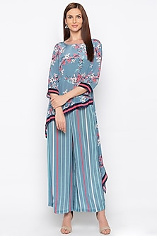 Pink Printed & Embroidered Kurta With Striped Palazzo Pants by Soup by Sougat Paul