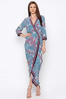 Multi Colored Embroidered & Printed Wrap Dress by Soup by Sougat Paul