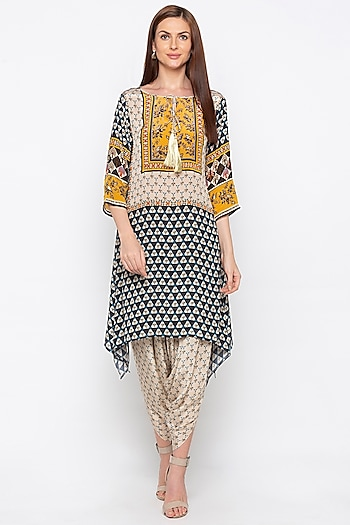 Multi Colored Embroidered Kurta With Dhoti Pants by Soup by Sougat Paul