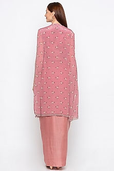 Pink Embroidered Crop Top With Jacket & Skirt by Soup by Sougat Paul