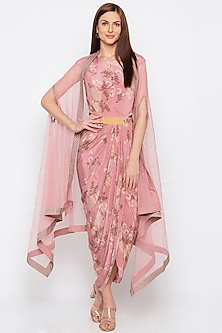 Pink Printed & Embroidered Draped Dress With Cape by Soup by Sougat Paul