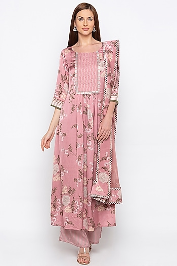 Pink Printed & Embroidered Kurta Set by Soup by Sougat Paul
