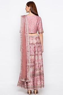 Pink Printed & Embroidered Lehenga Set by Soup by Sougat Paul
