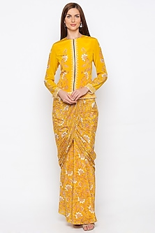 Yellow Embroidered Jacket With Draped Skirt by Soup by Sougat Paul